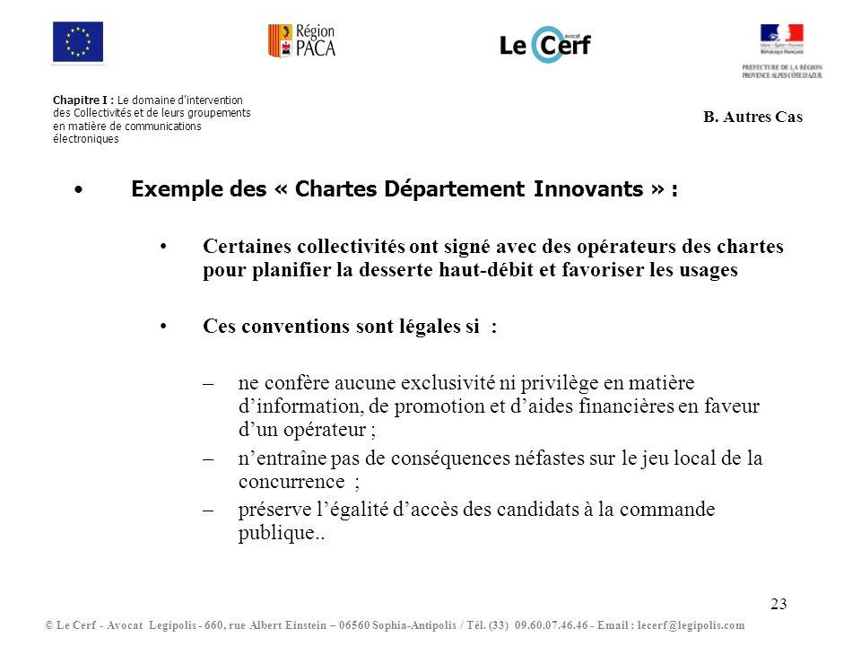 Exemple des « Chartes Département Innovants » :