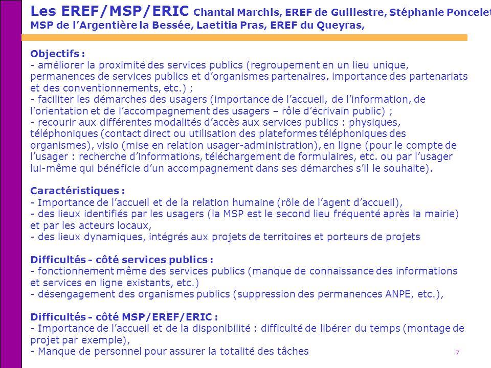 Les EREF/MSP/ERIC Chantal Marchis, EREF de Guillestre, Stéphanie Poncelet,