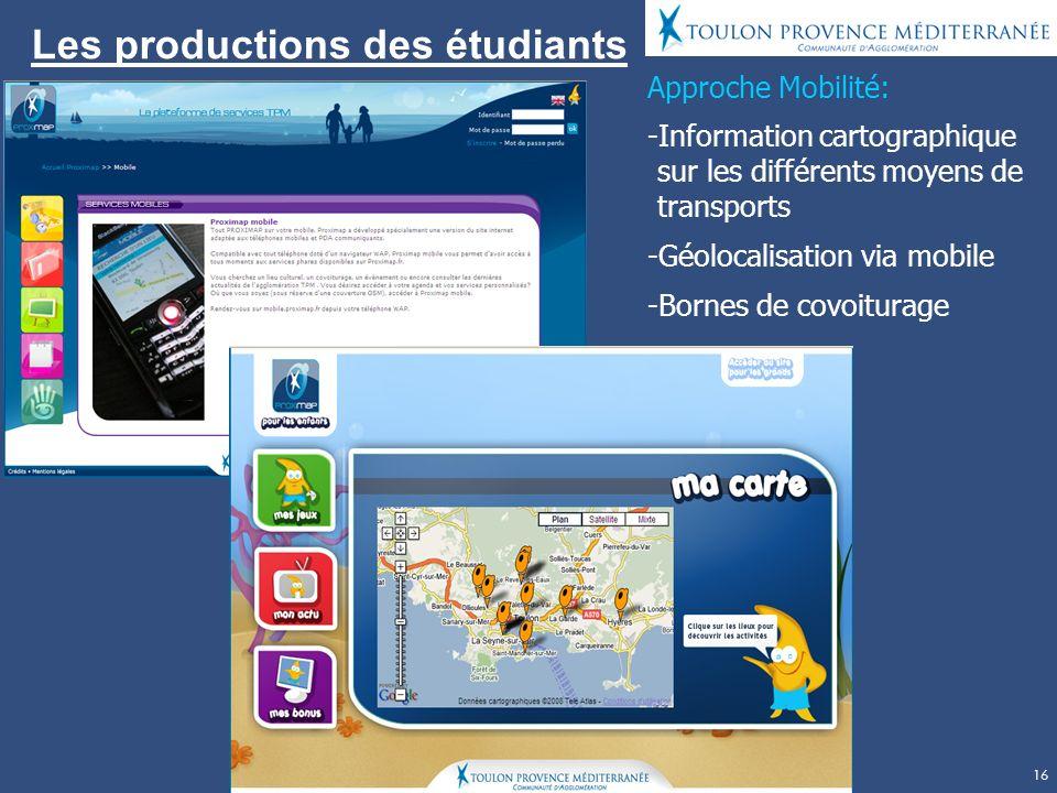 Les productions des étudiants