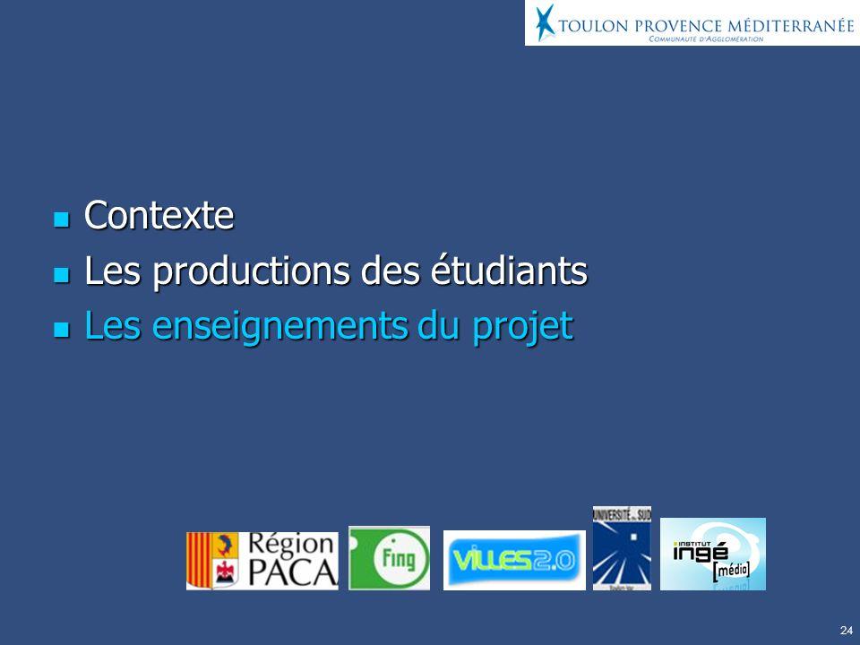 Contexte Les productions des étudiants Les enseignements du projet