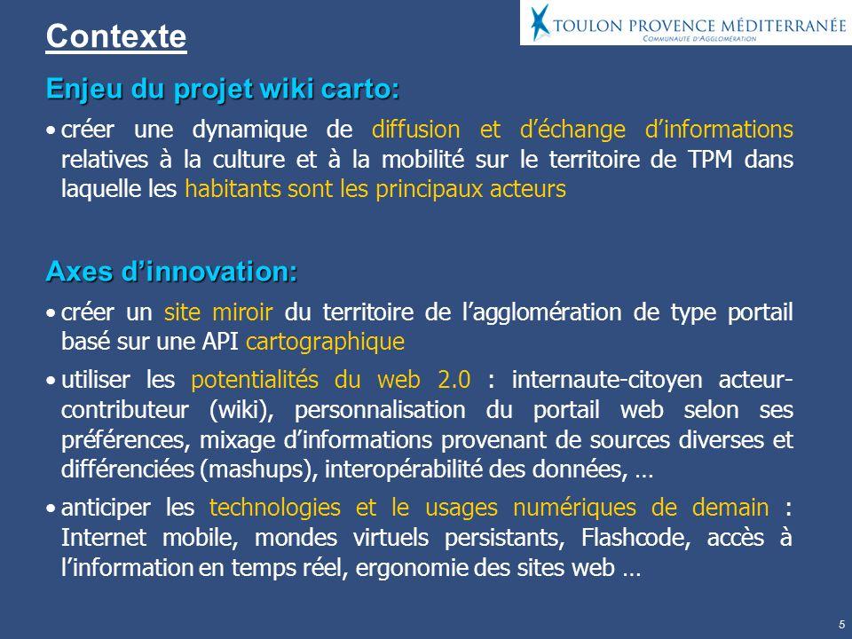 Contexte Enjeu du projet wiki carto: Axes d'innovation:
