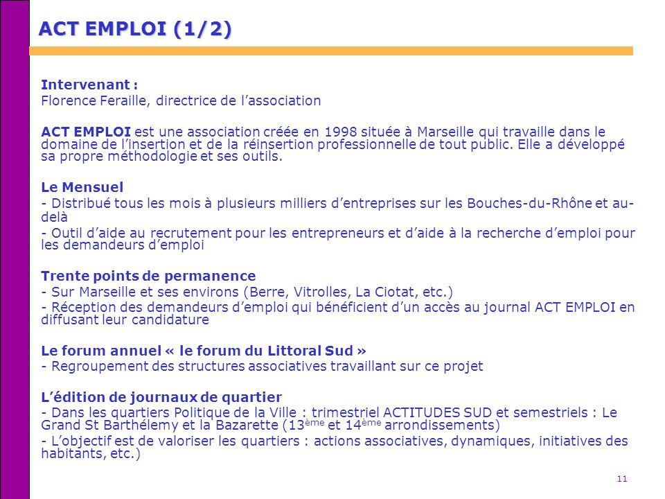 ACT EMPLOI (1/2) Intervenant :