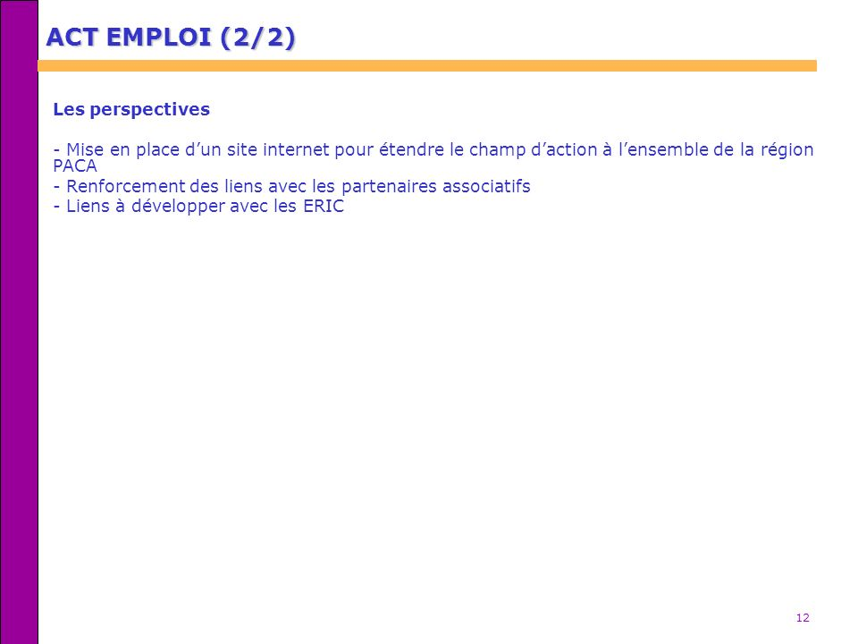ACT EMPLOI (2/2) Les perspectives