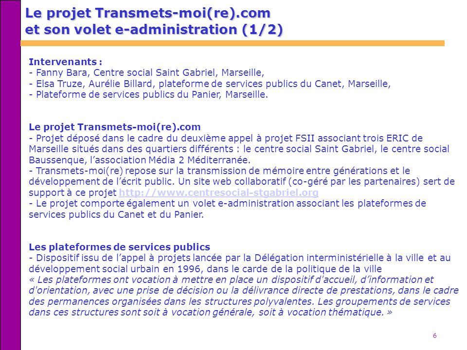 Le projet Transmets-moi(re).com et son volet e-administration (1/2)