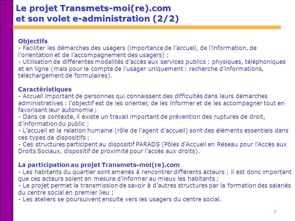 Le projet Transmets-moi(re).com et son volet e-administration (2/2)