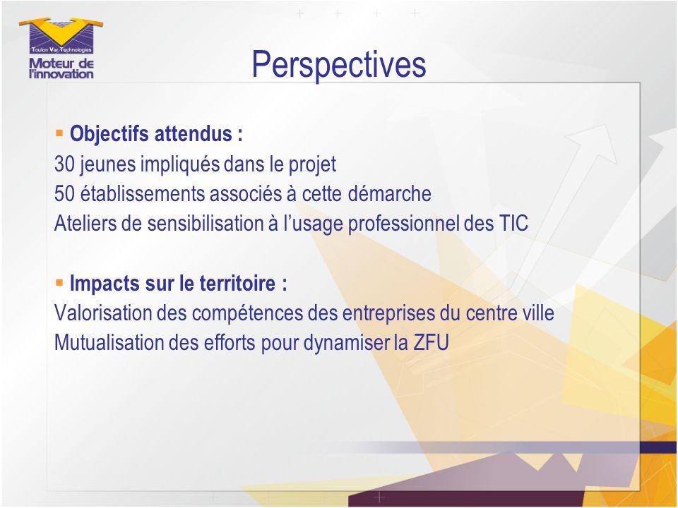 Perspectives Objectifs attendus : 30 jeunes impliqués dans le projet