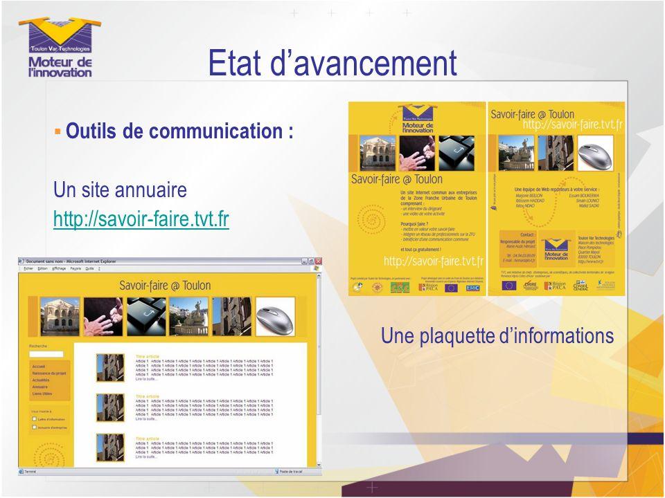 Etat d'avancement Un site annuaire http://savoir-faire.tvt.fr