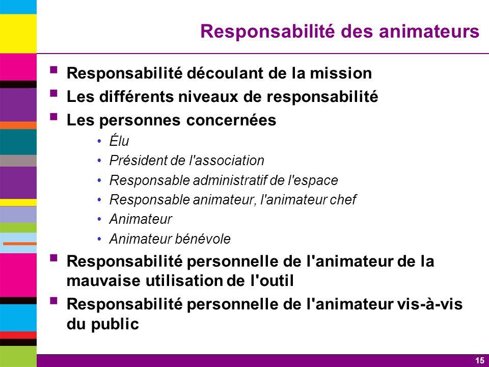 Responsabilité des animateurs