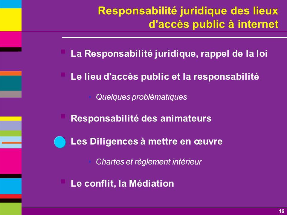 Responsabilité juridique des lieux d accès public à internet