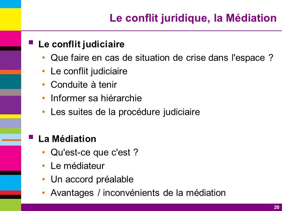 Le conflit juridique, la Médiation