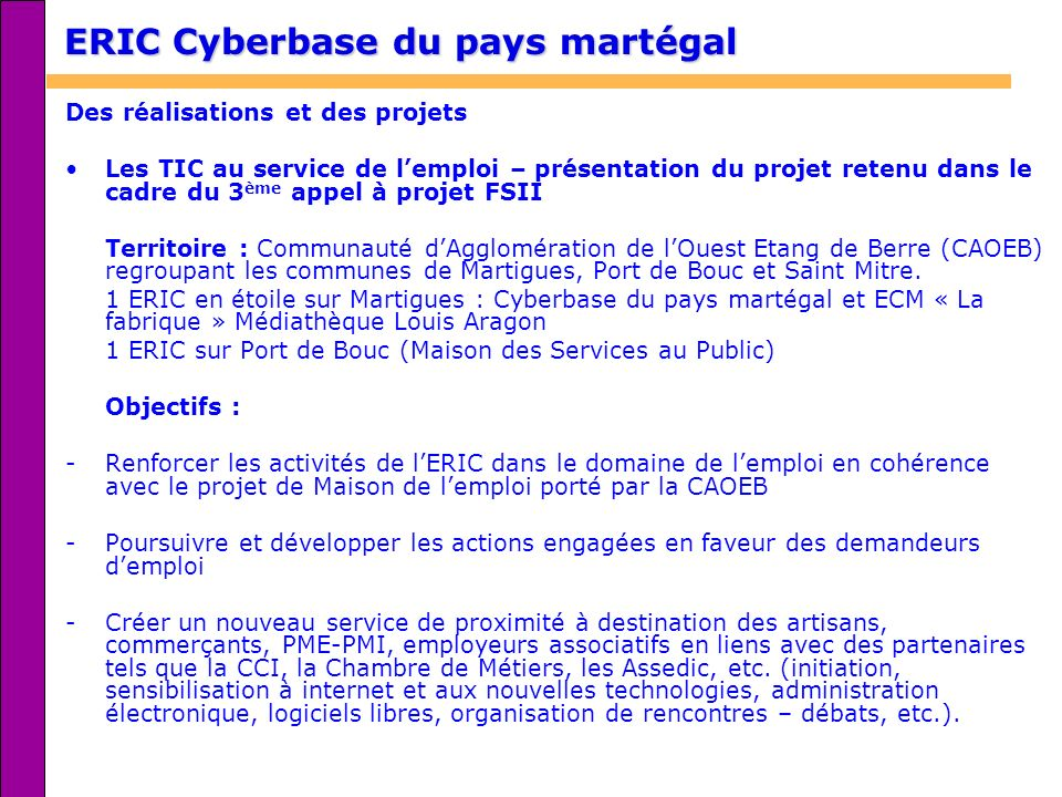 ERIC Cyberbase du pays martégal