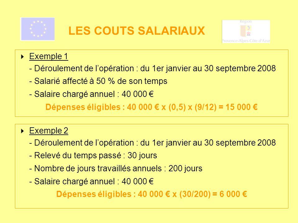 LES COUTS SALARIAUX Exemple 1