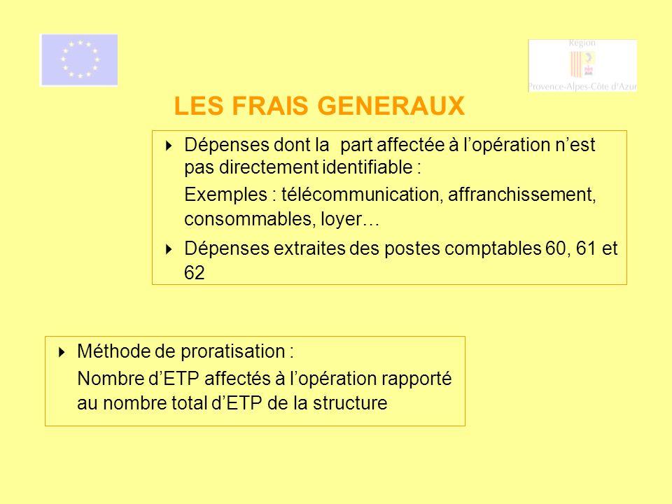 LES FRAIS GENERAUX Dépenses dont la part affectée à l'opération n'est pas directement identifiable :