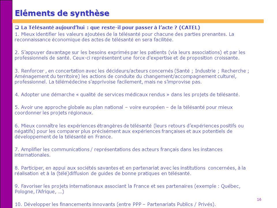 Eléments de synthèse La Télésanté aujourd'hui : que reste-il pour passer à l'acte (CATEL)