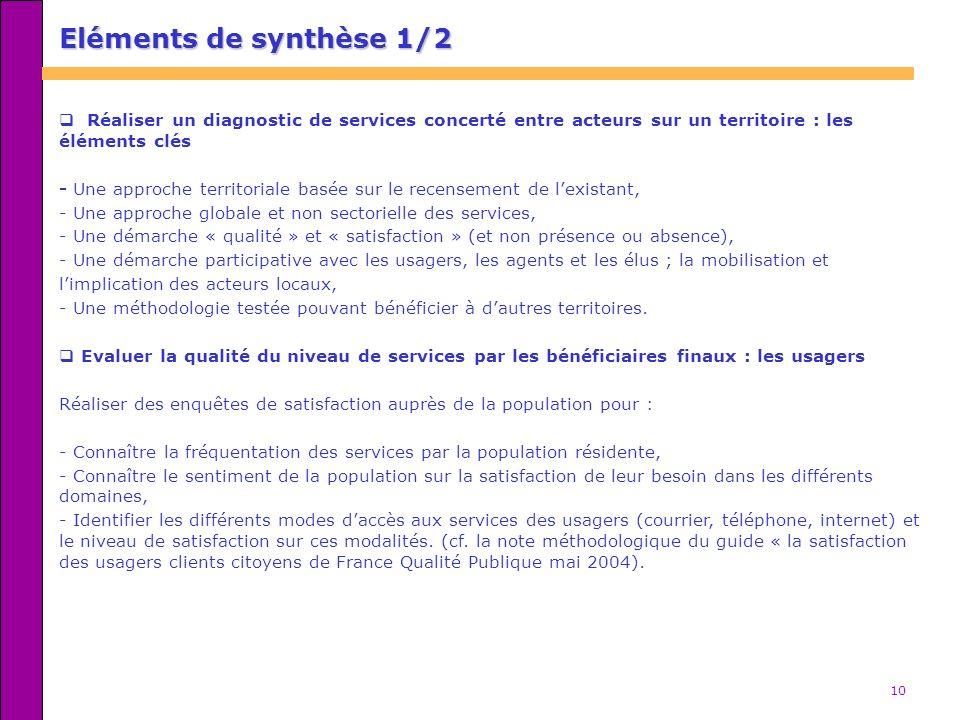 Eléments de synthèse 1/2 Réaliser un diagnostic de services concerté entre acteurs sur un territoire : les éléments clés.