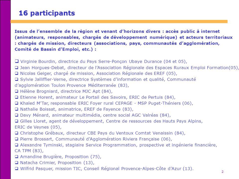 16 participants Issus de l'ensemble de la région et venant d'horizons divers : accès public à internet.