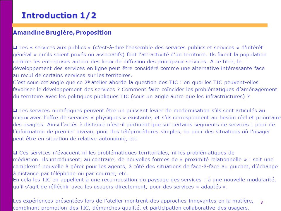 Introduction 1/2 Amandine Brugière, Proposition