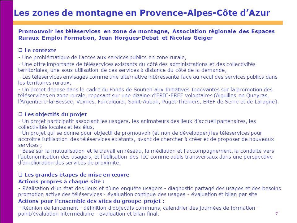 Les zones de montagne en Provence-Alpes-Côte d'Azur