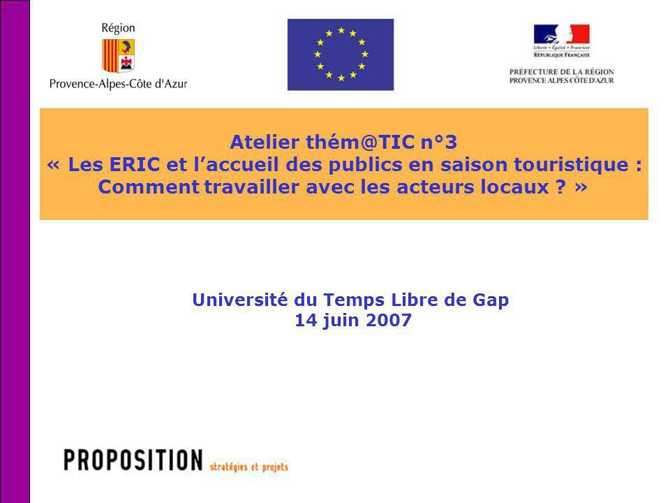 « Les ERIC et l'accueil des publics en saison touristique :