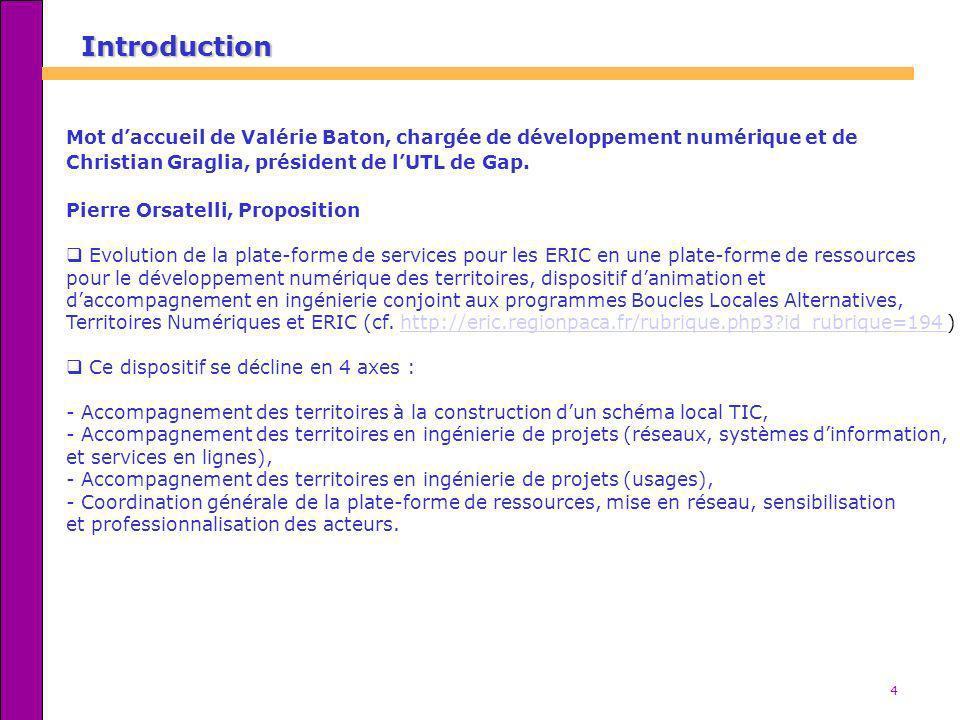 Introduction Mot d'accueil de Valérie Baton, chargée de développement numérique et de. Christian Graglia, président de l'UTL de Gap.
