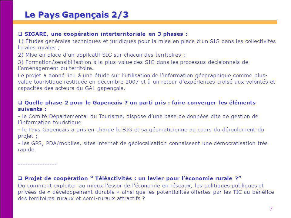 Le Pays Gapençais 2/3 SIGARE, une coopération interterritoriale en 3 phases :