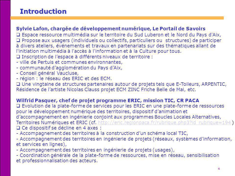 Introduction Sylvie Lafon, chargée de développement numérique, Le Portail de Savoirs.