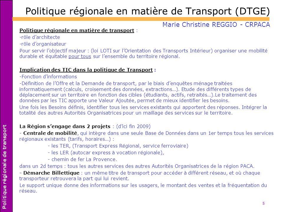 Politique régionale en matière de Transport (DTGE)