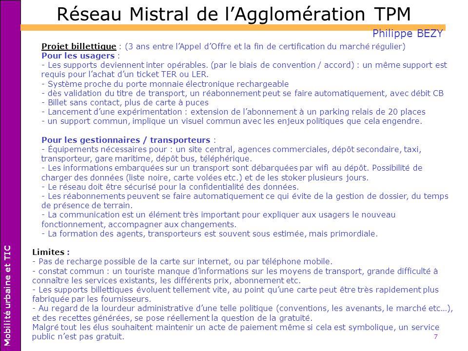 Réseau Mistral de l'Agglomération TPM
