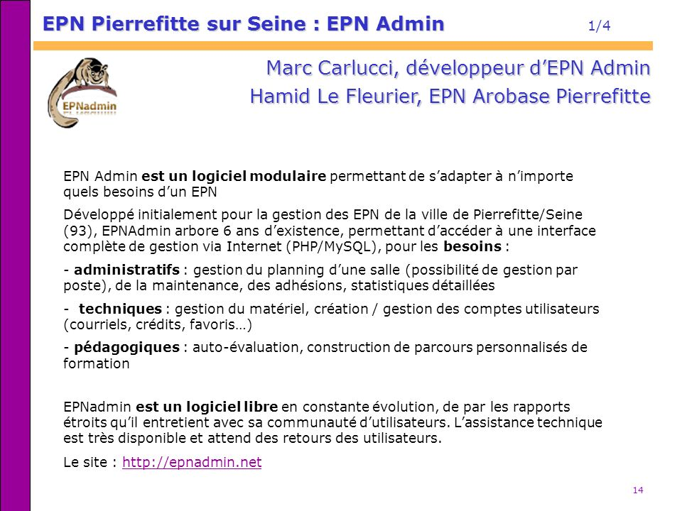 EPN Pierrefitte sur Seine : EPN Admin 1/4