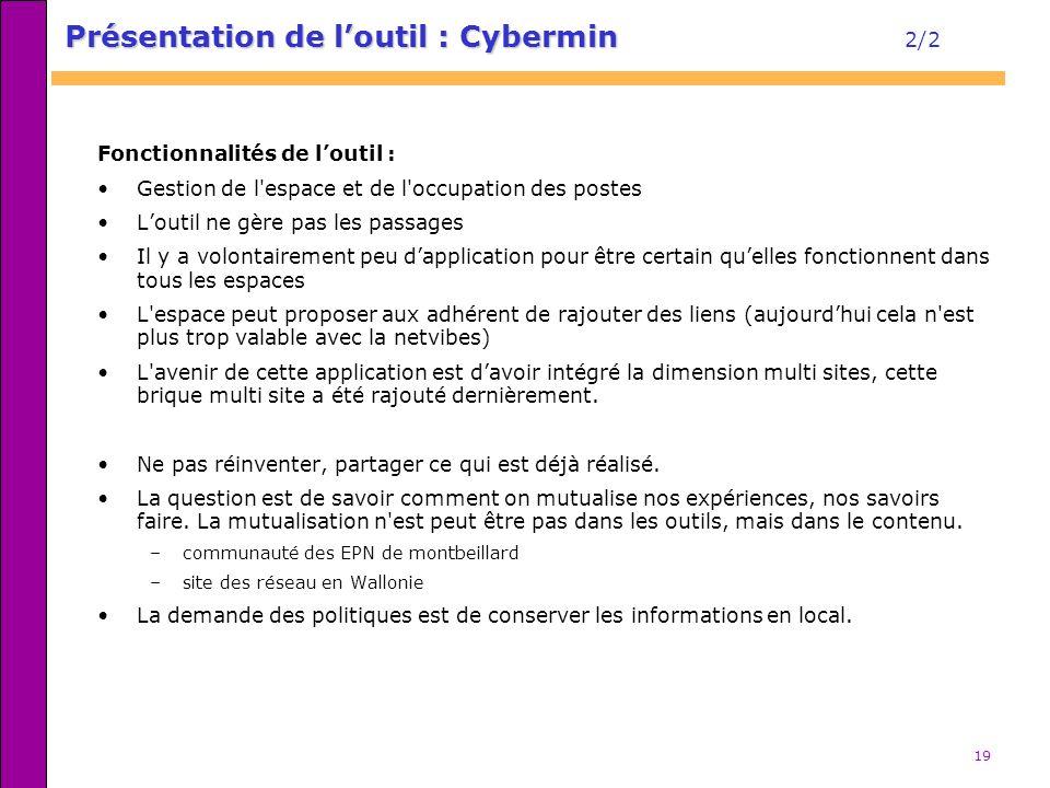 Présentation de l'outil : Cybermin 2/2