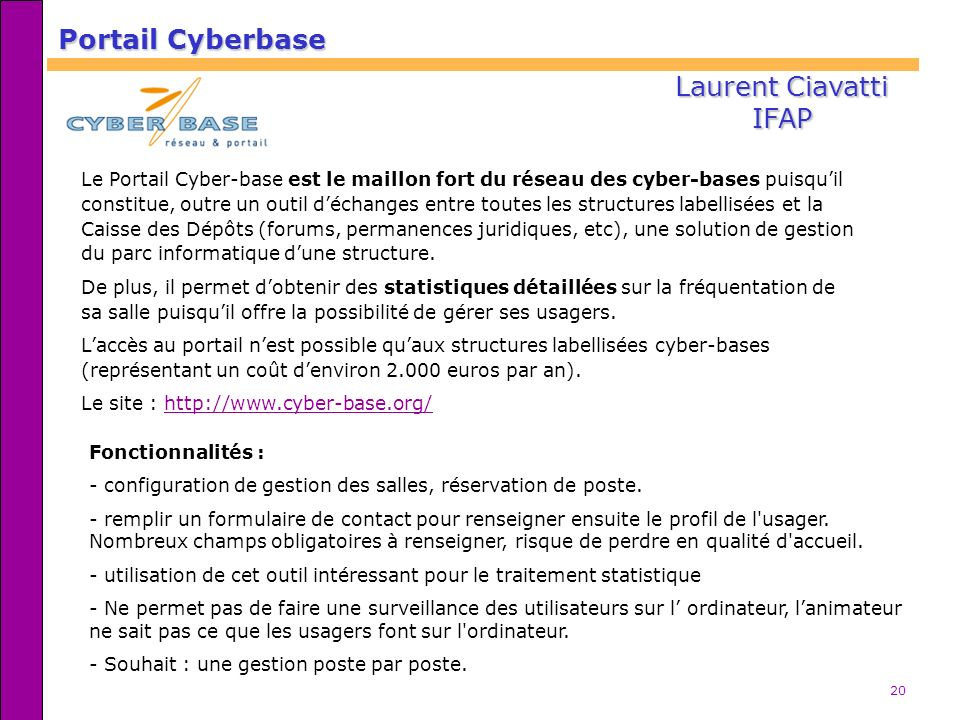 Portail Cyberbase Laurent Ciavatti IFAP