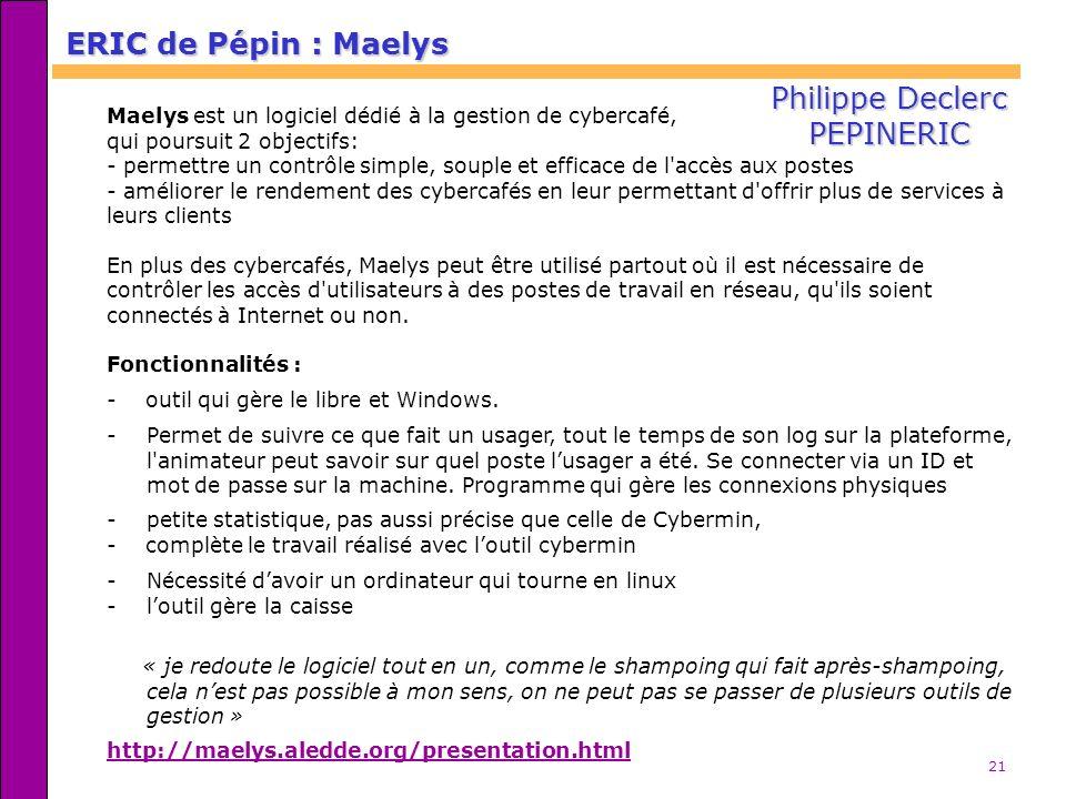 ERIC de Pépin : Maelys Philippe Declerc PEPINERIC
