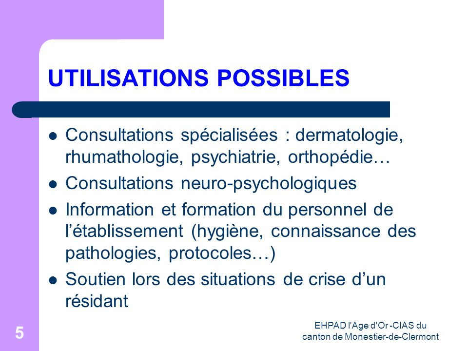 UTILISATIONS POSSIBLES