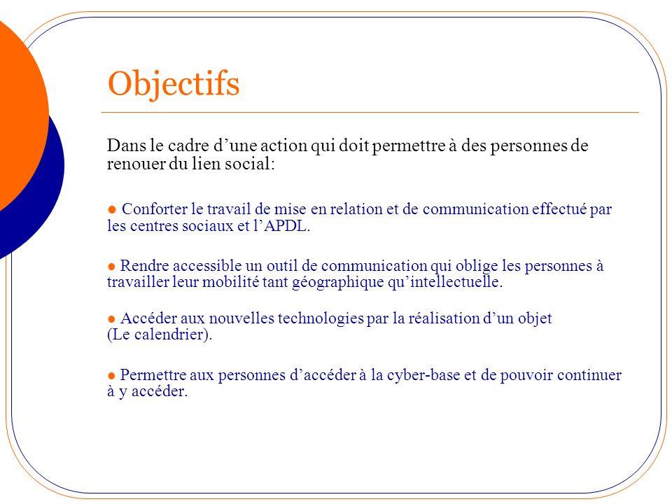 Objectifs Dans le cadre d'une action qui doit permettre à des personnes de renouer du lien social: