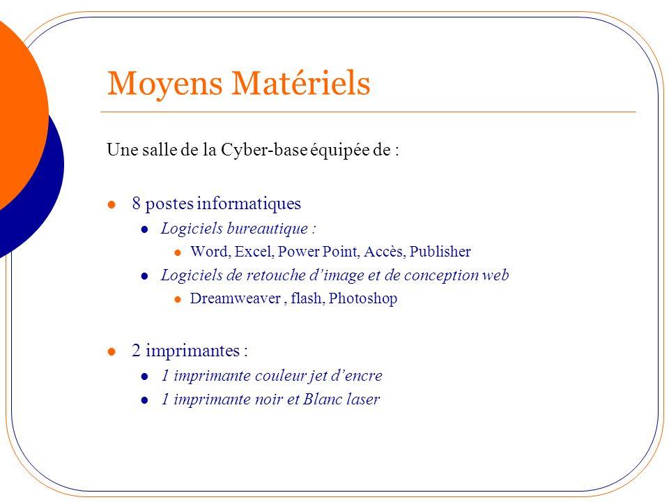 Moyens Matériels Une salle de la Cyber-base équipée de :