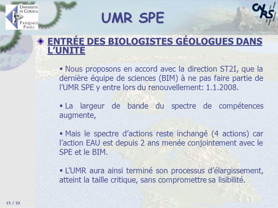 UMR SPE ENTRÉE DES BIOLOGISTES GÉOLOGUES DANS L'UNITÉ