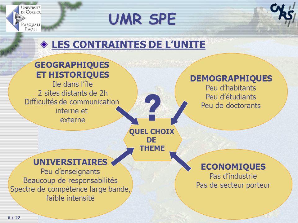 UMR SPE LES CONTRAINTES DE L'UNITE GEOGRAPHIQUES ET HISTORIQUES