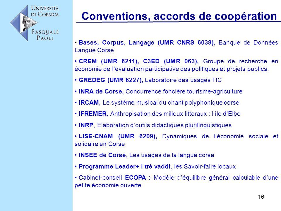 Conventions, accords de coopération