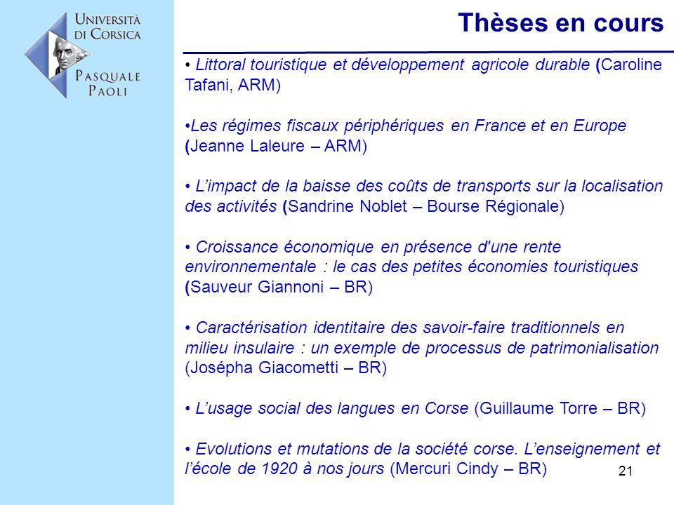 Thèses en cours Littoral touristique et développement agricole durable (Caroline Tafani, ARM)