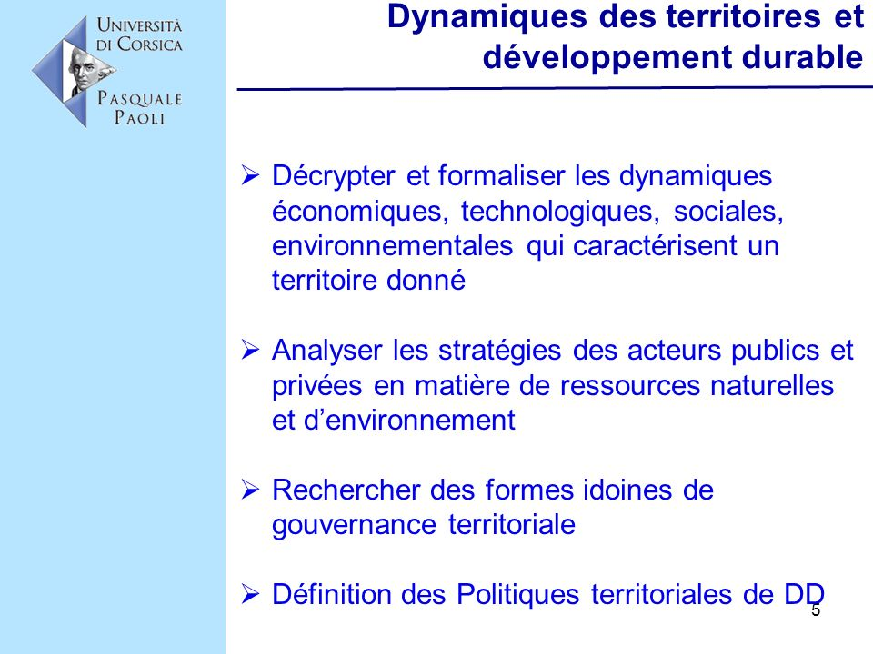 Dynamiques des territoires et développement durable