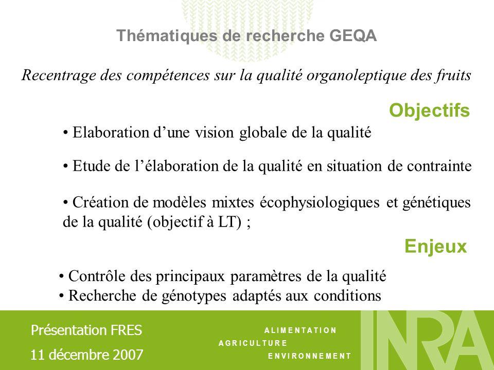 Objectifs Enjeux Thématiques de recherche GEQA