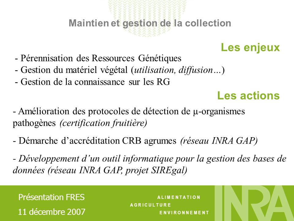 Maintien et gestion de la collection