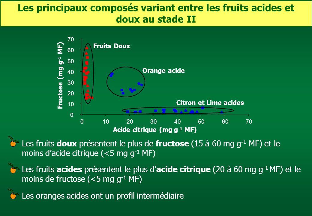 Les principaux composés variant entre les fruits acides et doux au stade II