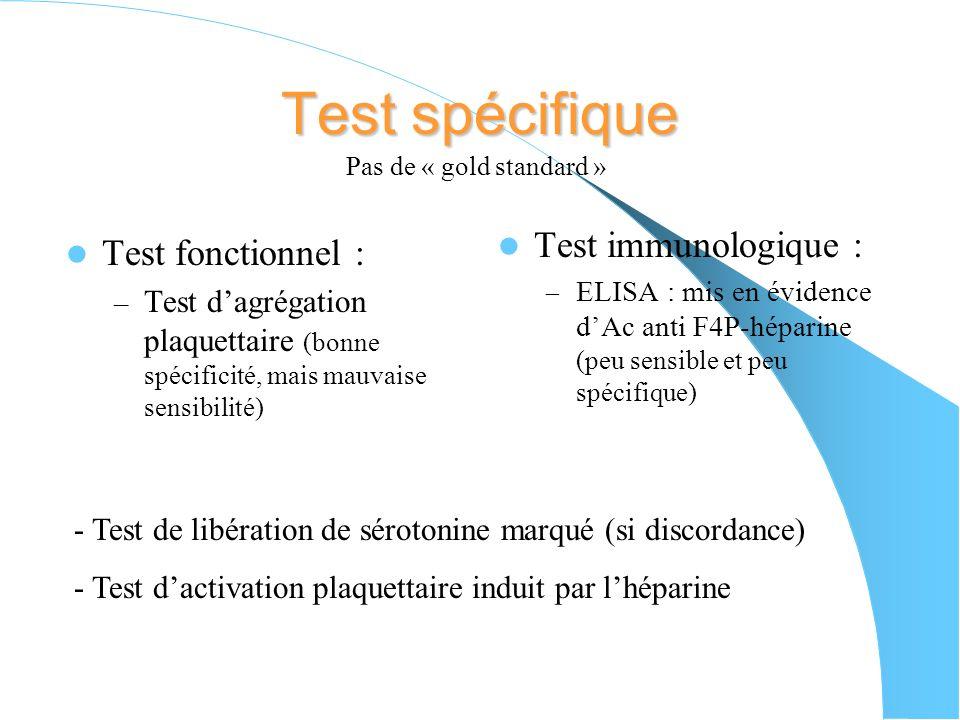 Test spécifique Test immunologique : Test fonctionnel :