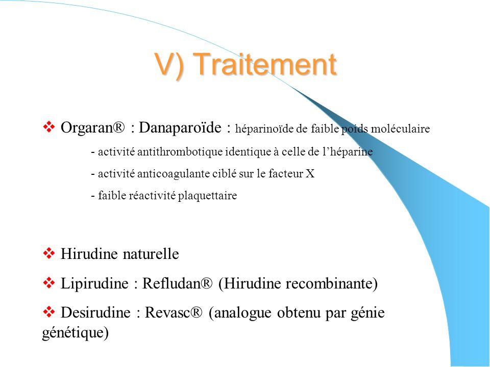 V) Traitement Orgaran® : Danaparoïde : héparinoïde de faible poids moléculaire. - activité antithrombotique identique à celle de l'héparine.