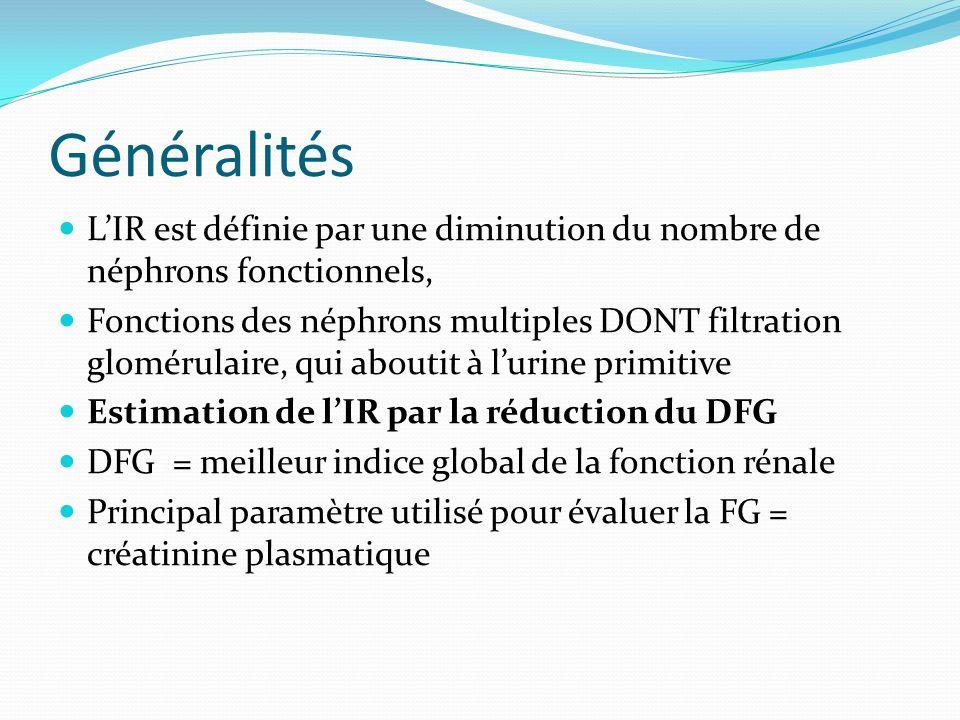 Généralités L'IR est définie par une diminution du nombre de néphrons fonctionnels,