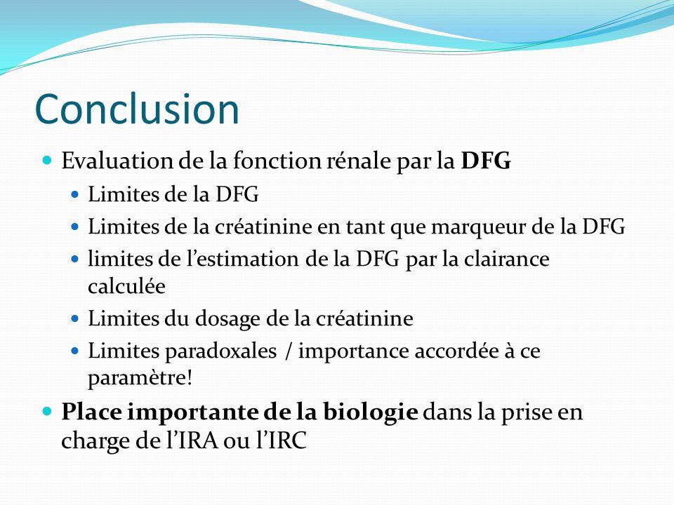 Conclusion Evaluation de la fonction rénale par la DFG