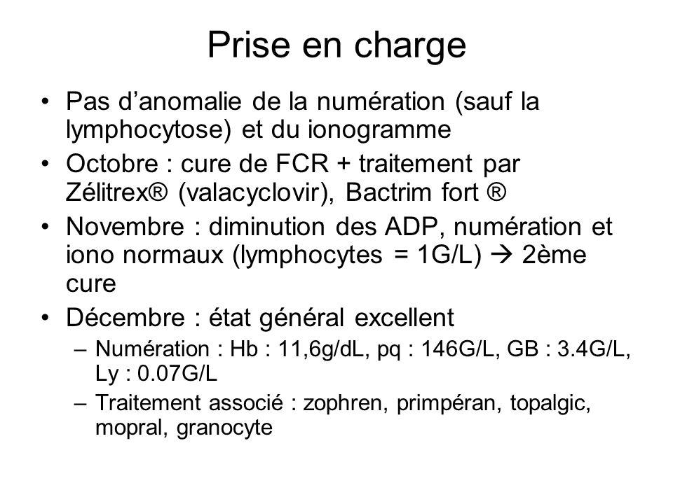 Prise en chargePas d'anomalie de la numération (sauf la lymphocytose) et du ionogramme.