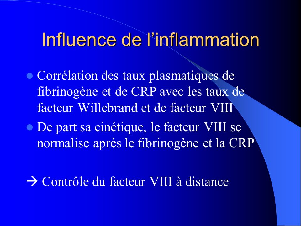 Influence de l'inflammation