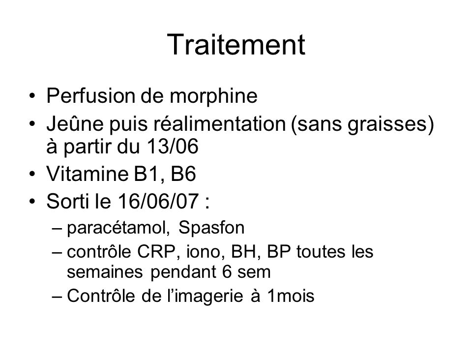 Traitement Perfusion de morphine